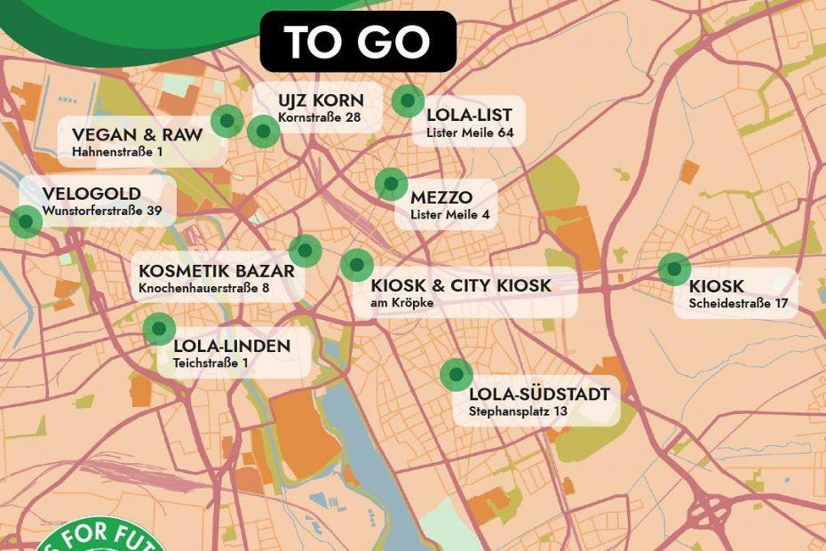 Stadtkarte von Hannover mit Orten wo Mobimaterial abgeholt werden kann