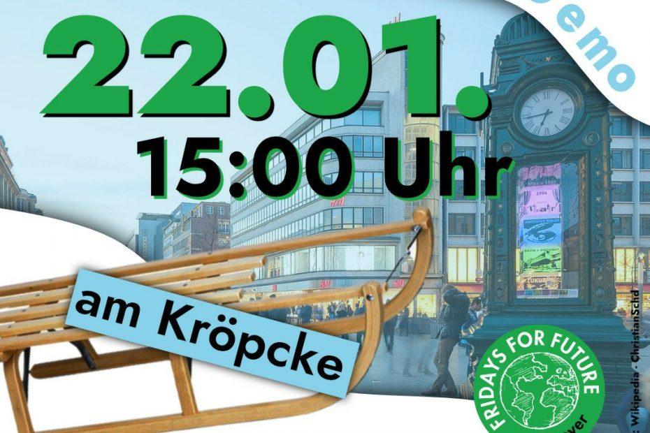 Beschriftung: Schlitten-Demo am Kröpcke; Datum: 22.01, 15 Uhr; bringt einen Schlitten mit, Im Hintergrund: Schlitten und Kröpcke-Uhr