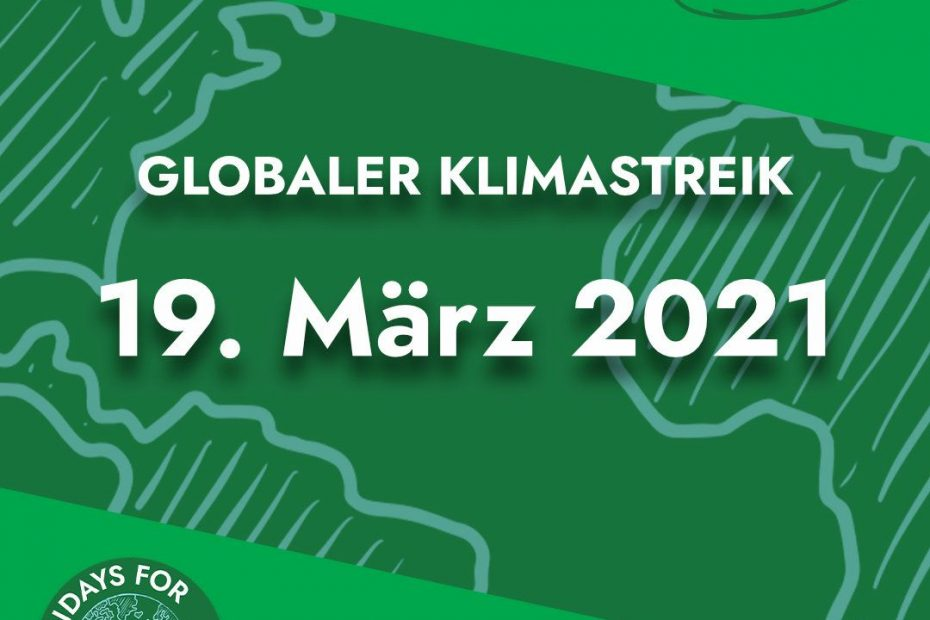 """Grafik mit Beschriftung """"Globaler Klimastreik 19.03 """""""