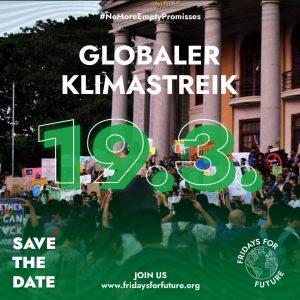 """Grafik mit Beschriftung """" 19.03 globaler Klimastreik; Save the Date; fridaysforfuture.org"""""""